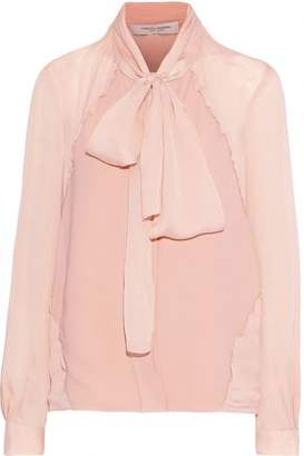 Carolina Herrera Pussy-Bow Georgette-Paneled Silk Crepe De Chine Blouse