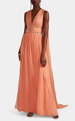 Alberta Ferretti Women's Jewel-Embellished Pleated Silk Chiffon Gown - Pink