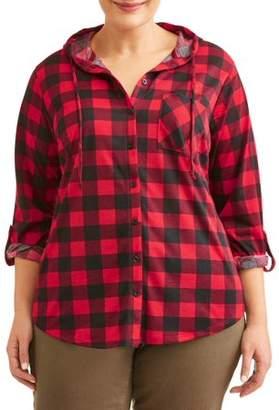 No Comment Juniors' Plus Hooded Knit Plaid Shirt