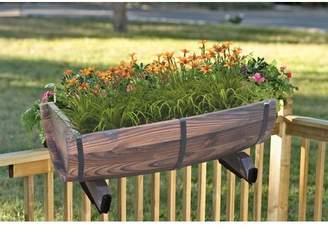 Gardenised Half Barrel Adjustable Deck Wood Rail Planter