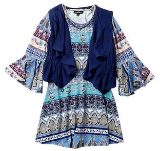 My Michelle mymichelle Printed Bell Sleeve Dress, Vest & Necklace Set (Big Girls)
