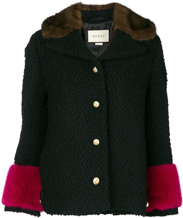Gucci astrakhan contrast trim jacket