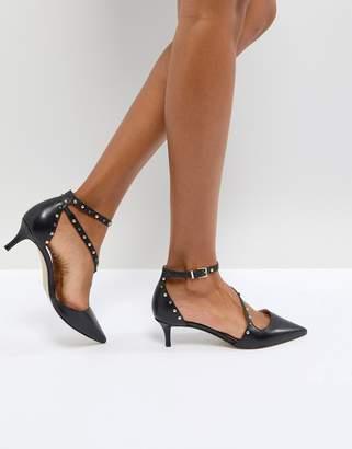 Carvela Aspire Pearl Strap Leather Kitten Heels