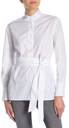 Frame Oversized Belted Poplin Shirt