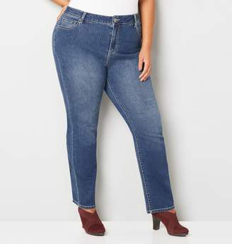 Avenue Plus Size 1432 Straight Leg Jean In Medium Wash