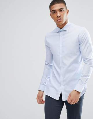 Moss Bros Premium Extra Slim Shirt In Blue Texture