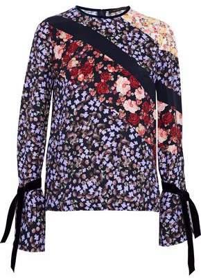 Mother of Pearl Velvet-Trimmed Floral-Print Silk Crepe De Chine Top