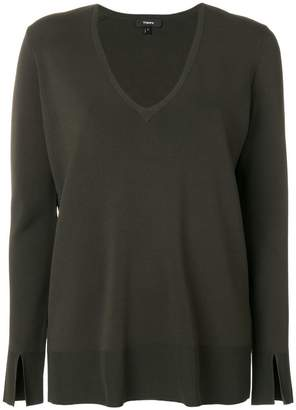 Theory v-neck split-sleeved sweater