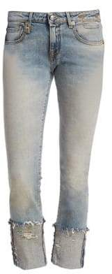 R 13 Kate Skinny Frayed Cuff Jeans