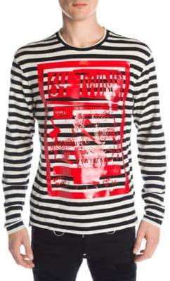 DSQUARED2 Striped Military Punk Long-Sleeve Shirt