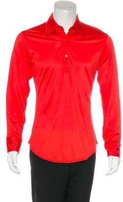 Saint Laurent Pique Long Sleeve Polo Shirt