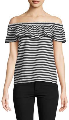 Kate Spade Stripe Off-The-Shoulder T-Shirt