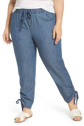 Caslon Side Ruched Ankle Pants (Plus Size)
