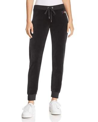 Juicy Couture Black Label Gothic-Logo Velour Sweatpants