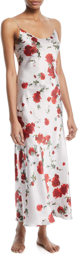 Meng Rose-Print Silk Long Slip Nightgown