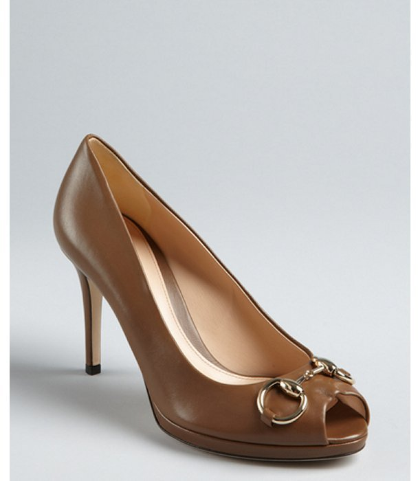 Gucci maple leather horsebit strapped peep toe pumps