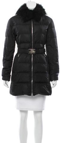 pradaPrada Fox Fur-Trimmed Puffer Coat