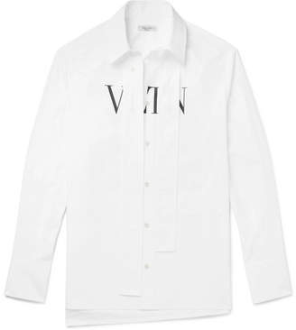Valentino Vltn Strap-Detailed Printed Cotton-Poplin Shirt