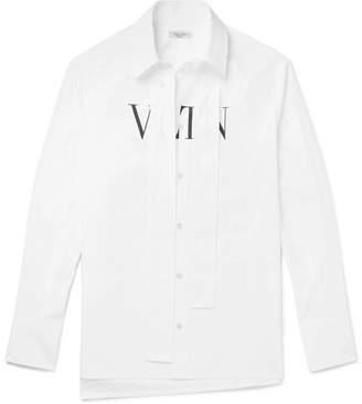 Valentino VLTN Strap-Detailed Printed Cotton-Poplin Shirt - White