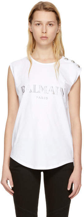 Balmain White Sleeveless Logo T-Shirt