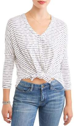 Amy Byer Juniors' Striped Jersey Knit Tie Front V-Neck Button Front Blouse