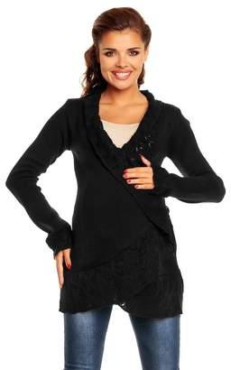 Zeta Ville Fashion Zeta Ville - Womens Maternity Cardigan with Crochet Details Knit Warm - 406c