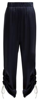 Hillier Bartley - Gathered Cuff Silk Satin Trousers - Womens - Navy