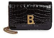 Balenciaga Women's Crocodile Embossed Leather Crossbody Bag