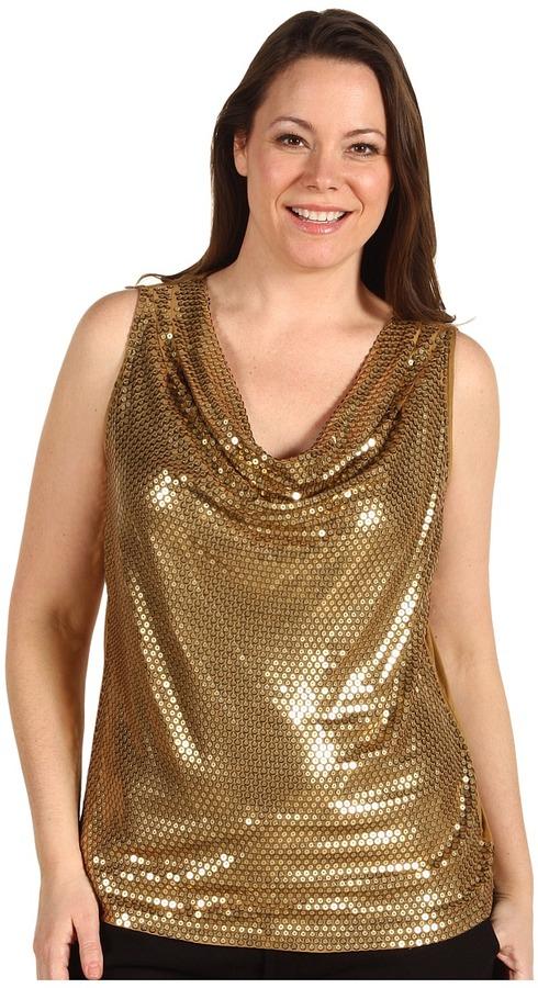 MICHAEL Michael Kors Plus Size Sleeveless Drape Neck Sequin Top (Amber) - Apparel