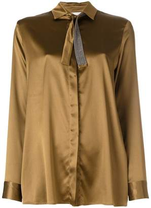 Fabiana Filippi embellished tie neck shirt