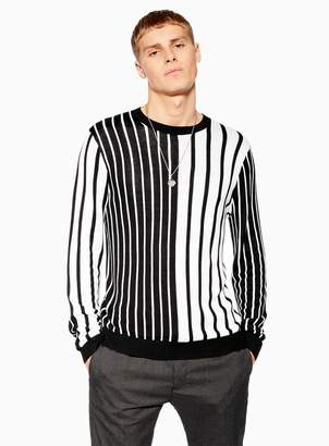TopmanTopman Black and White Vertical Stripe Jumper