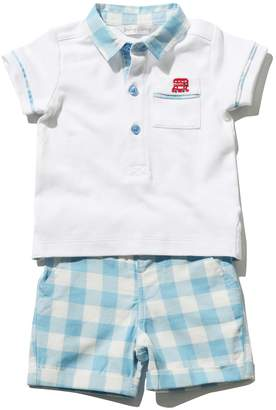 M&Co Polo shirt and check shorts set