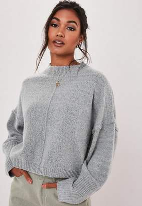 Missguided Gray Oversized Balloon Sleeve Crop Sweater