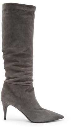 Prada Mid Heel Suede Knee High Boots - Womens - Dark Grey