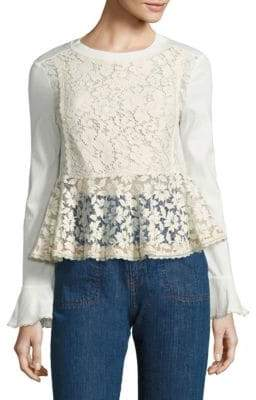 Lace-Front Peplum Bell-Sleeve Top