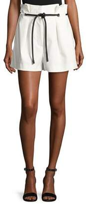 3.1 Phillip Lim Pleated Paperbag-Waist High-Rise Shorts, Antique White