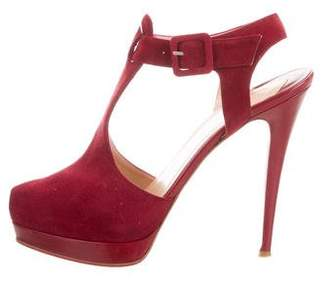 Christian Louboutin Suede Ankle Strap Pumps