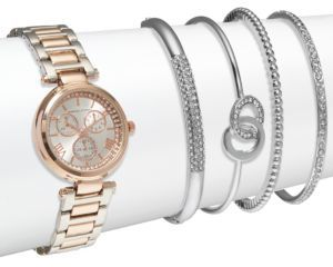 Crystal Stainless Steel Bracelet Watch & Bangle Bracelet Set $125 thestylecure.com