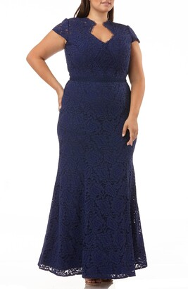 JS Collections Panel Scalloped Lace Gown