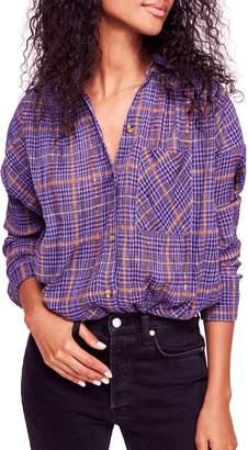 Free People Break My Stripe Plaid Shirt