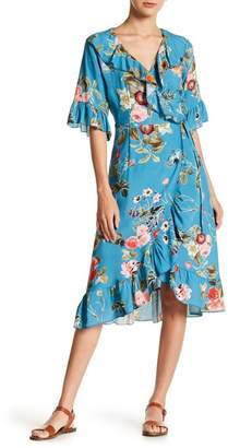 Luma Floral Print Ruffle Wrap Dress