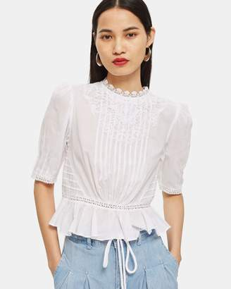 Topshop Lace Puff Sleeve Top