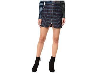 Kitty Joseph Quilted Satin Short Skirt with Front Bottom Slit Women's Skirt