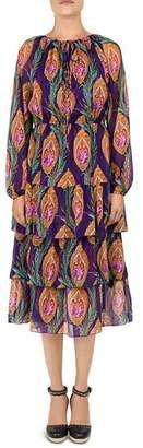 The Kooples Hindu Flower Print Silk Midi Dress