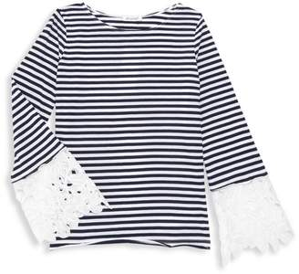 Ella Moss Girl's Lace Cuff Striped Top