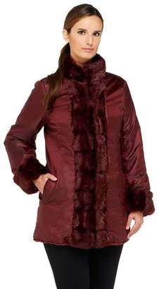 Dennis Basso Reversible Faux Fur Coat with Stand Collar