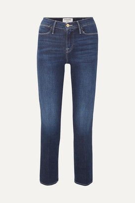 Frame Le High Cropped Straight-leg Jeans - Mid denim