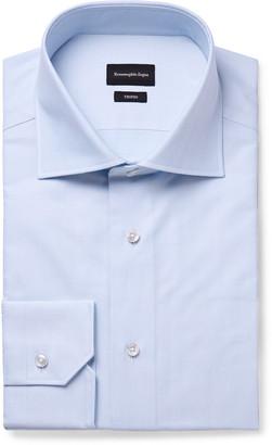Ermenegildo Zegna Light-Blue Trofeo Slim-Fit Cutaway-Collar Herringbone Cotton-Poplin Shirt - Men - Blue