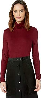 Three Dots Women's CI2798 Luxe Rib L/S Turtleneck W/Cowl Back