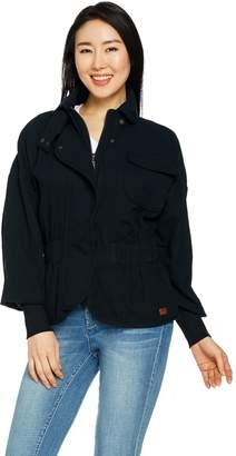 Peace Love World Zip Front Cotton Jacket w/ Waist Detail